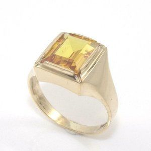 10K Gold Orange Sapphire Solitaire Ring Size 7.5